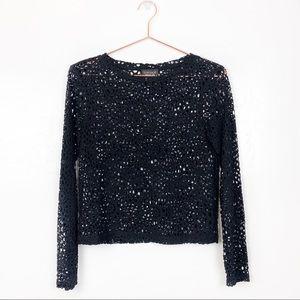 TopShop | Black Crochet Long Sleeve Top